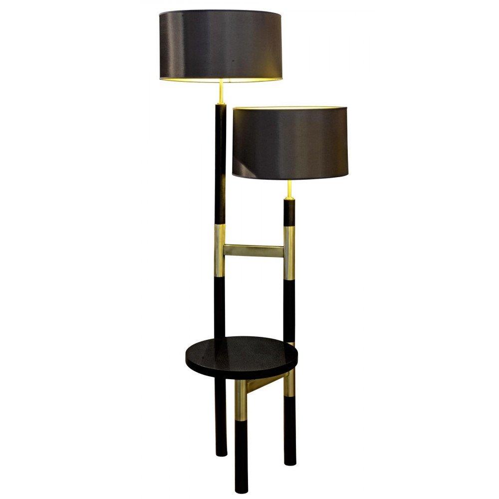 Lampadaire métal brossé et frêne Georges  | www.cosy-home-design.fr