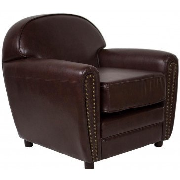 Fauteuil marron cuir Club Cardiff  | www.cosy-home-design.fr