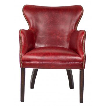 Fauteuil rouge cuir Connor  | www.cosy-home-design.fr