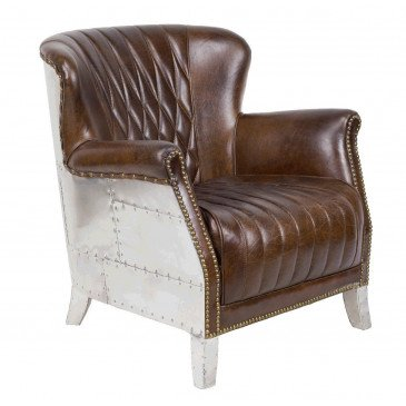 Fauteuil marron cuir Roma  | www.cosy-home-design.fr