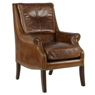Fauteuil marron en cuir Chicago | www.cosy-home-design.fr