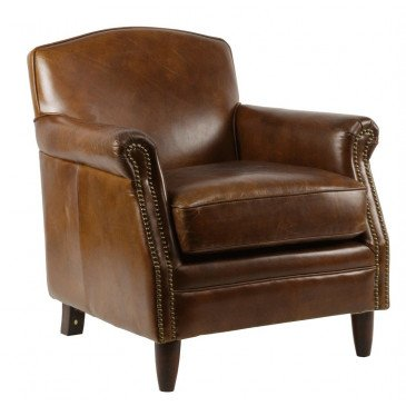 Fauteuil marron cuir Normandie  | www.cosy-home-design.fr