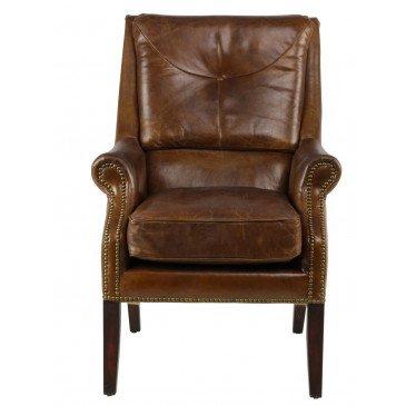 Fauteuil marron en cuir Chicago | www.cosy-home-design.fr