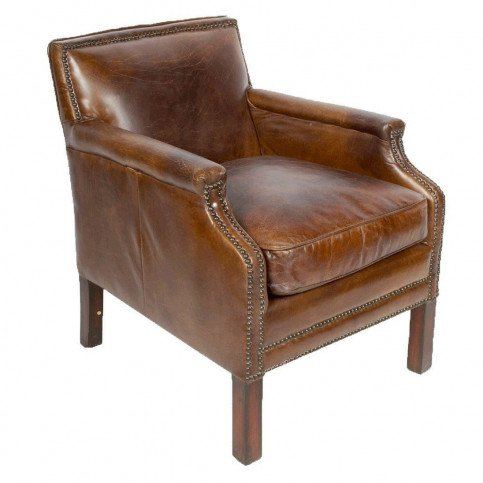 Fauteuil marron cuir Churchill  | www.cosy-home-design.fr