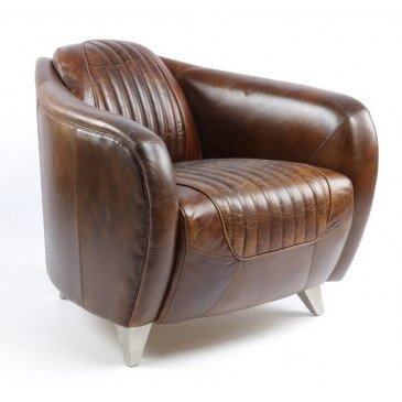 Fauteuil marron cuir Racing  | www.cosy-home-design.fr