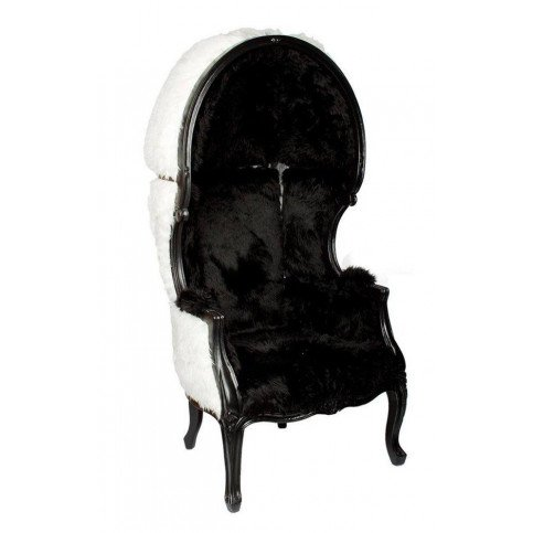Fauteuil noir et blanc fourrure Steve  | www.cosy-home-design.fr