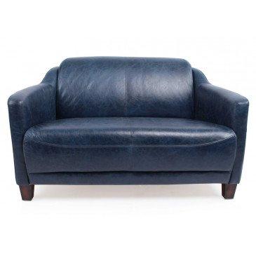 Canapé bleu en cuir 2 places Milord | www.cosy-home-design.fr