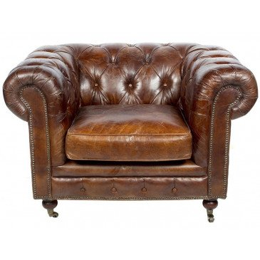 Fauteuil Marron en cuir Chesterfield Chicago | www.cosy-home-design.fr