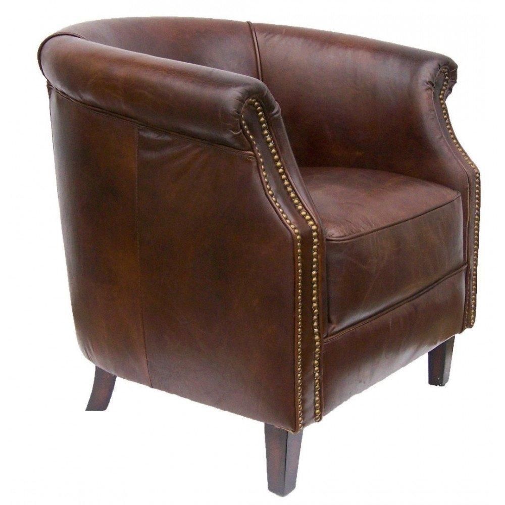 Fauteuil marron cuir Walton  | www.cosy-home-design.fr