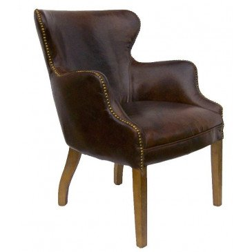 Fauteuil marron cuir Connor  | www.cosy-home-design.fr