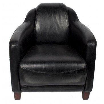 Fauteuil noir en cuir Milord | www.cosy-home-design.fr