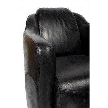 Fauteuil noir en cuir Milord   www.cosy-home-design.fr
