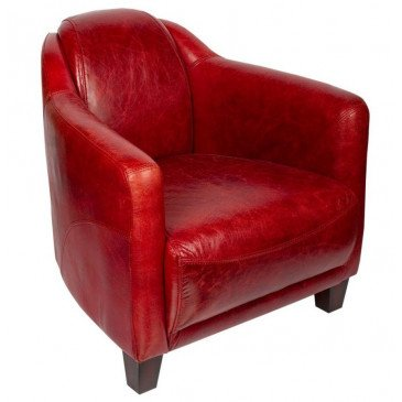 Fauteuil rouge en cuir Milord | www.cosy-home-design.fr