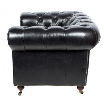 Fauteuil Noir en cuir Chesterfield Chicago | www.cosy-home-design.fr