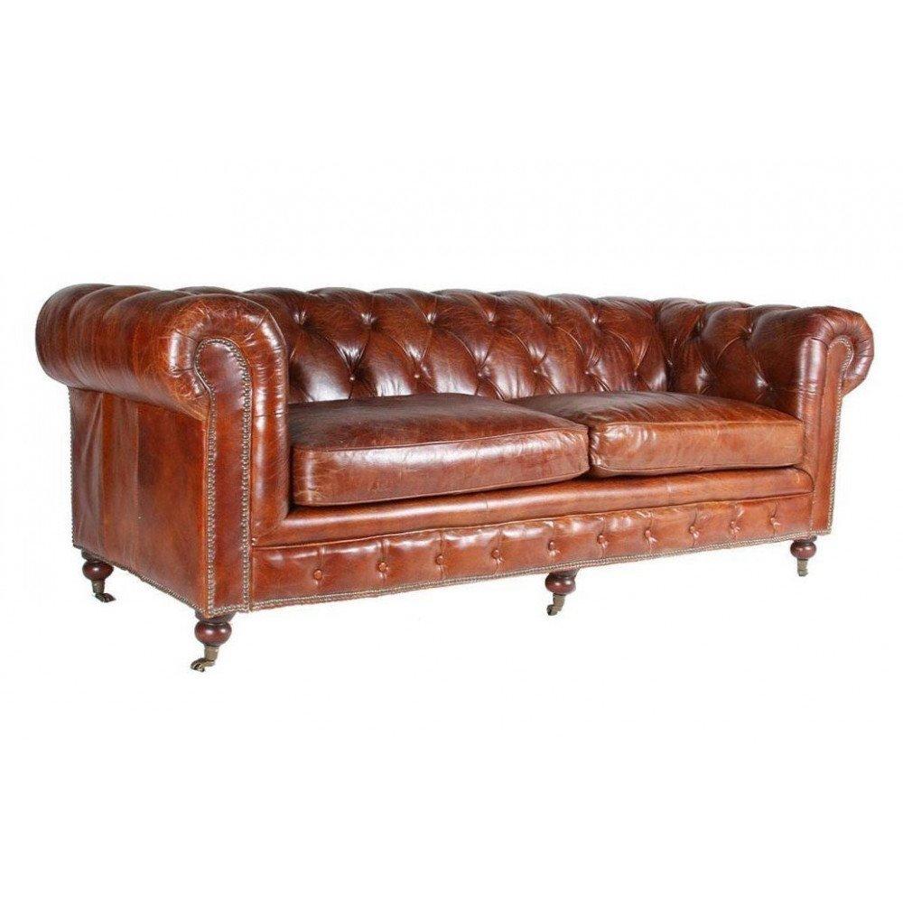 Canapé en cuir marron 2 places Chesterfield Chicago | www.cosy-home-design.fr