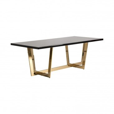 Table de Repas Noire et Dorée en Bois, Acier et Cristal Barthos | www.cosy-home-design.fr