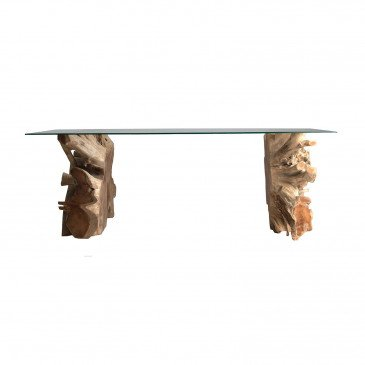 Table salon racine de teck et verre Dalkier | www.cosy-home-design.fr