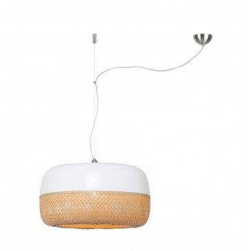Suspension en Bambou Blanc et naturel Solo MEKONG L | www.cosy-home-design.fr