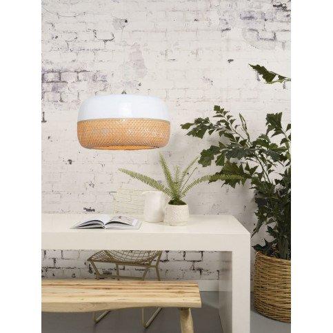 Suspension en Bambou Blanc et naturel Solo MEKONG L | www.cosy-home-design.fr