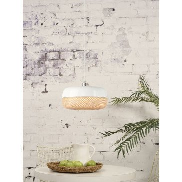 Suspension en Bambou Blanc et naturel MEKONG  | www.cosy-home-design.fr