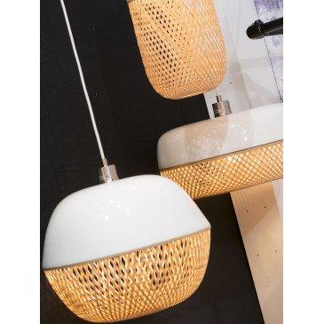 Suspension en Bambou Blanc et naturel MEKONG  | www.cosy-home-design.fr