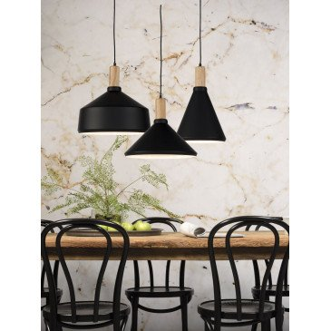 Suspension en Fer Noir et naturel MELBOURNE M | www.cosy-home-design.fr