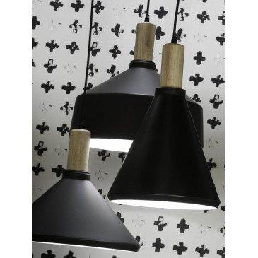 Suspension en Fer Noir et naturel MELBOURNE M   www.cosy-home-design.fr