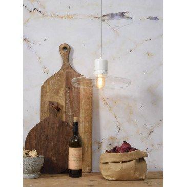 Suspension en Verre et marbre Blanc PARIS  | www.cosy-home-design.fr