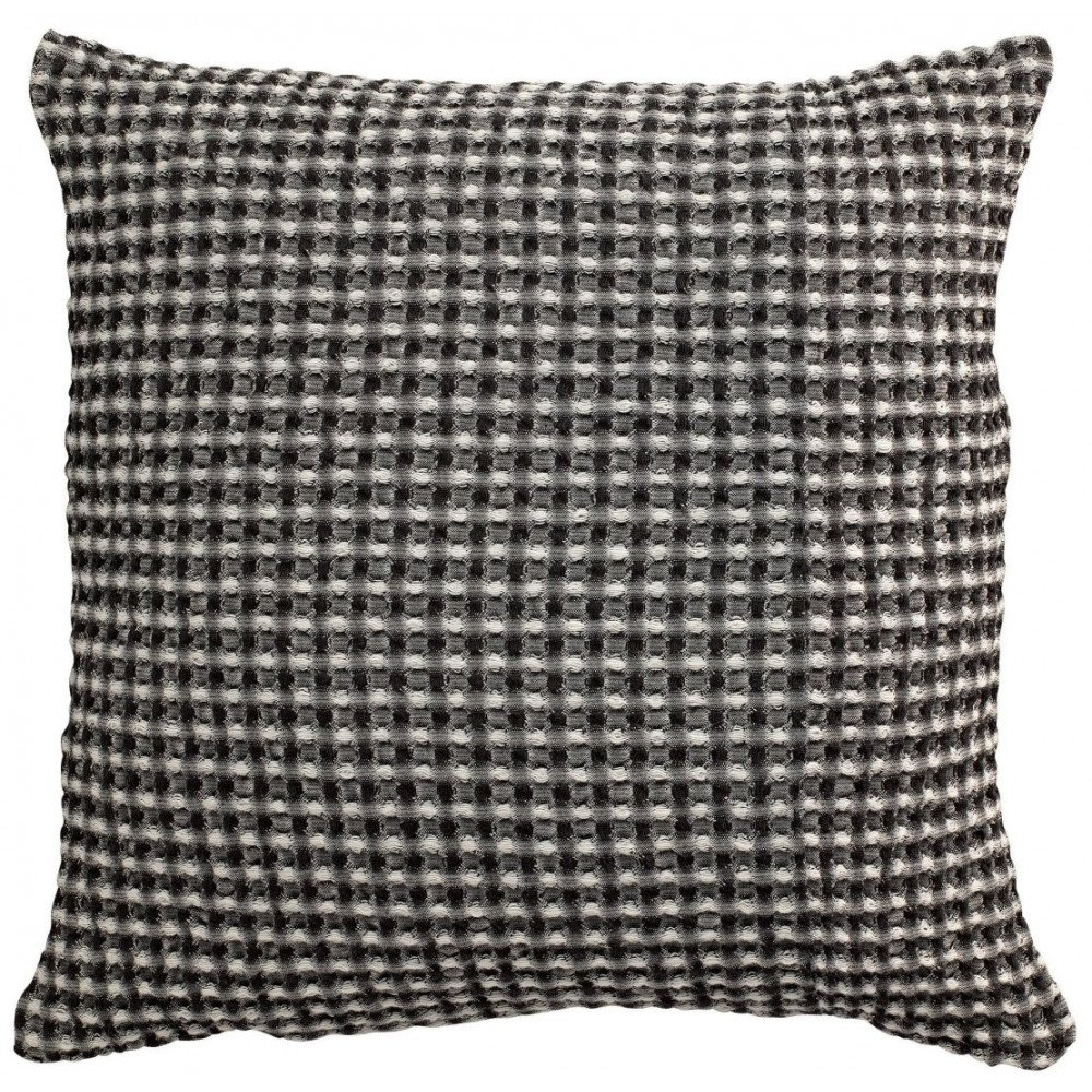 Housse de Coussin Stonewashed Naga Vichy Carbone 45 | www.cosy-home-design.fr