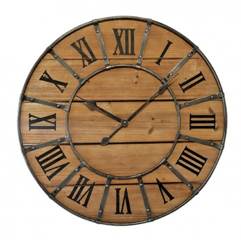Horloge Ronde Métal Et Bois Rivets | www.cosy-home-design.fr