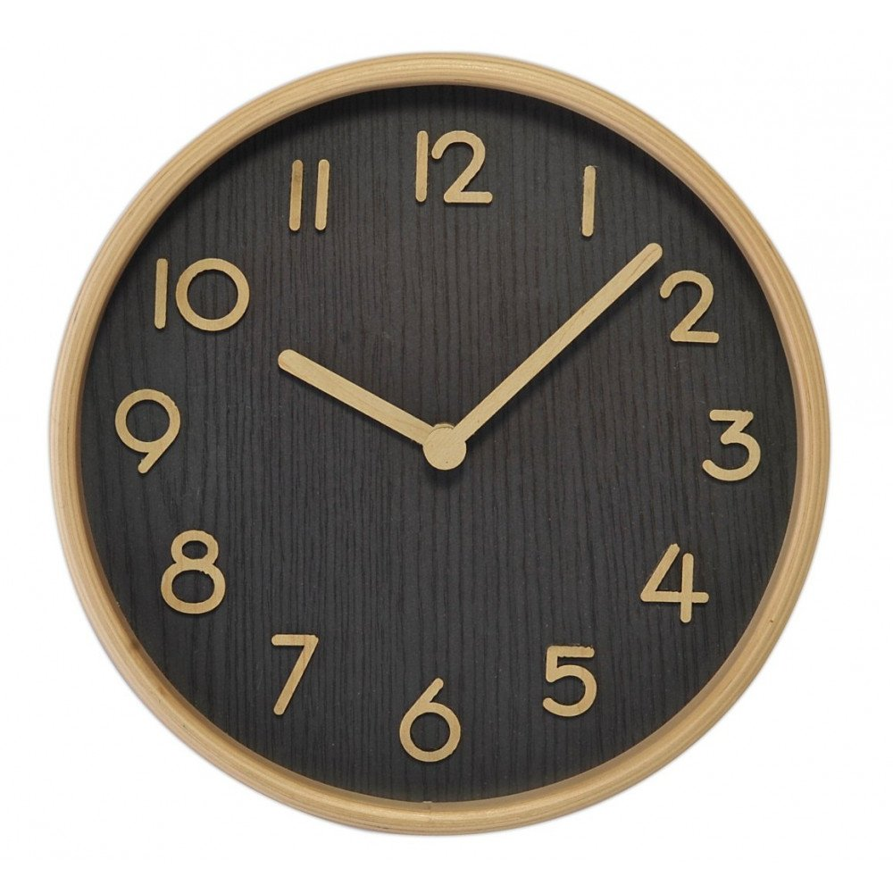 Horloge Bois Clair Fond Foncé   www.cosy-home-design.fr