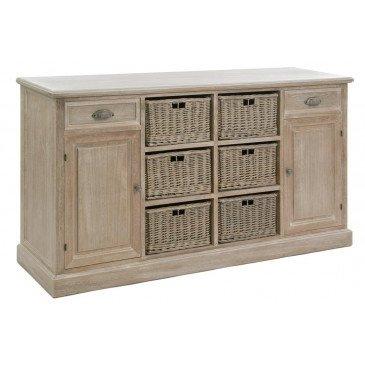 Dressoir 6 Paniers 2 tiroirs 2 Portes Bois Gris | www.cosy-home-design.fr