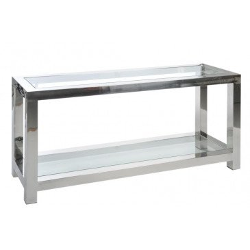 Console Acier Inoxydable/Verre Argent | www.cosy-home-design.fr