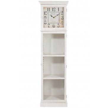 Armoire Etagère et Horloge et Porte Verre Bois Blanc | www.cosy-home-design.fr