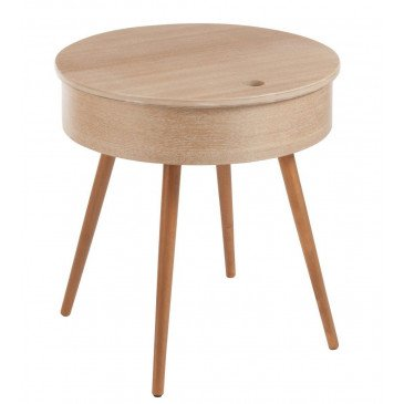 Table Gigogne Ronde Couvercle 4 Pieds Bois Naturel | www.cosy-home-design.fr