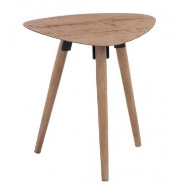 Table Gigogne Triangle Arrondi Métal Placage Naturel Petit | www.cosy-home-design.fr
