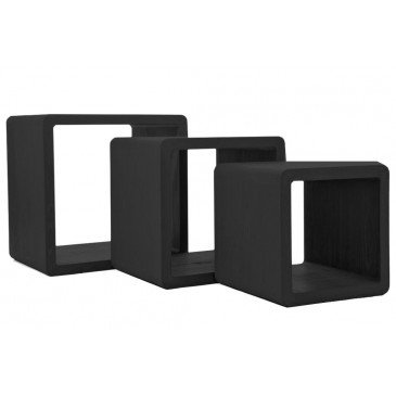 Set de 3 Tables Gigogne Rectangulaires Bois Noir | www.cosy-home-design.fr