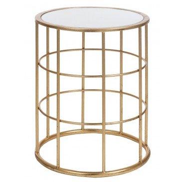 Table Gigogne Barre Métal/Verre Or | www.cosy-home-design.fr