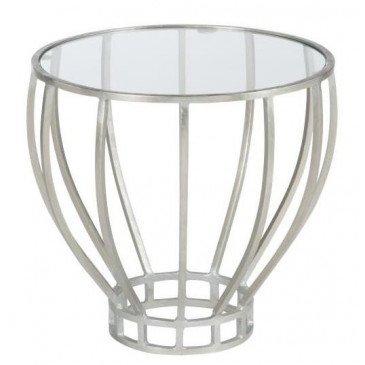 Table Gigogne Rond Fer/Verre Argent | www.cosy-home-design.fr