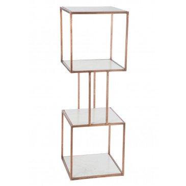 Etagère 2 Cubes 4planches Fer/Marbre Cuivre | www.cosy-home-design.fr