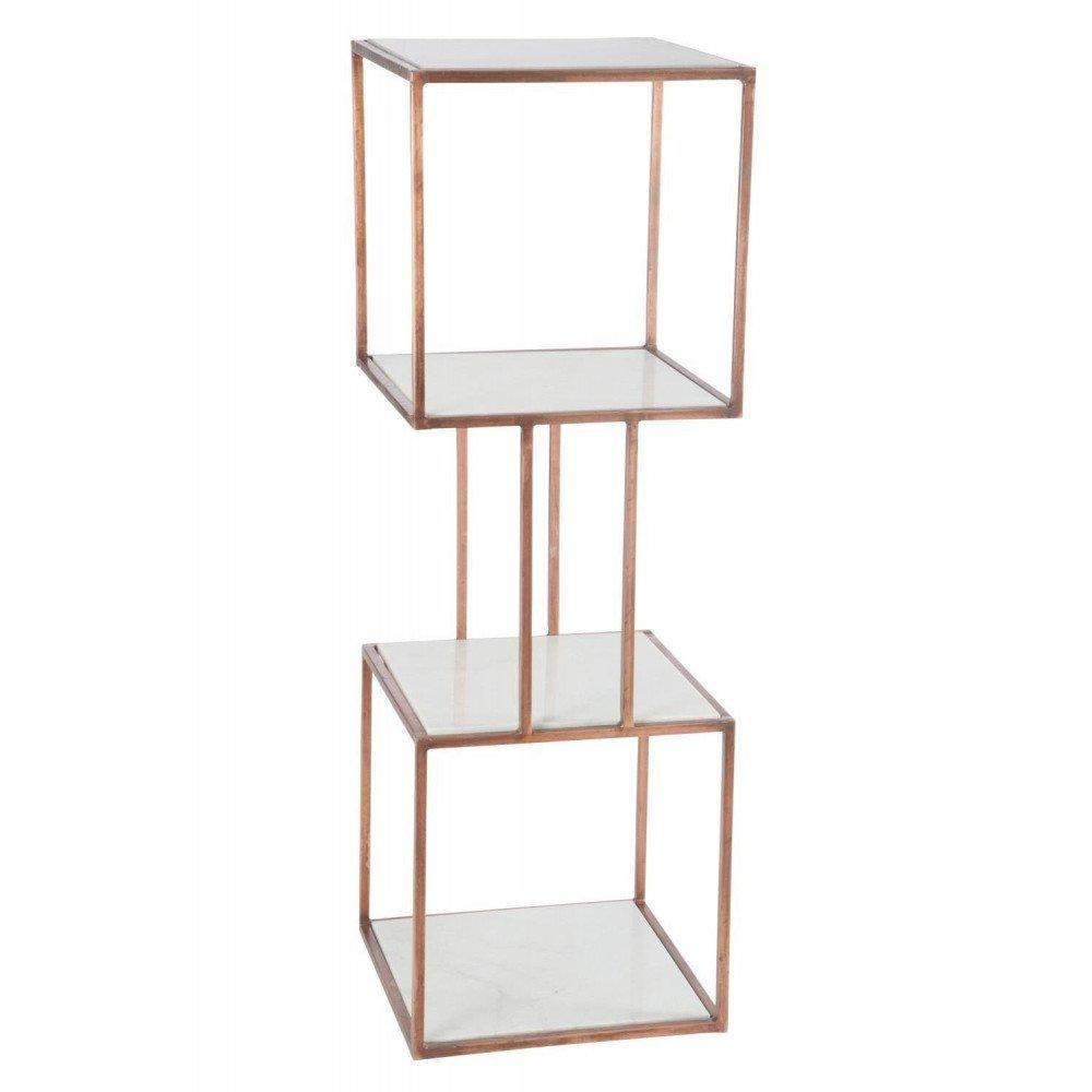Etagère 2 Cubes 4planches Fer/Marbre Cuivre   www.cosy-home-design.fr