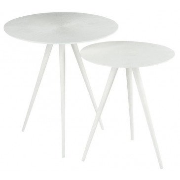 Set De 2 Tables Gigogne Ligne Métal Mat Blanc | www.cosy-home-design.fr