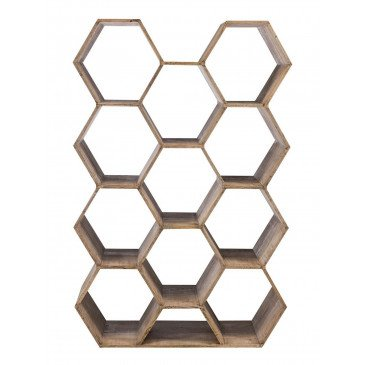 Etagère 11 Hexagones Manguier Bois Naturel | www.cosy-home-design.fr