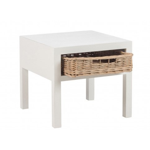 Table De Nuit et 1 Panier Bois Blanc | www.cosy-home-design.fr