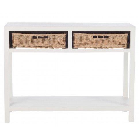 Console et 2 Paniers Bois Blanc | www.cosy-home-design.fr
