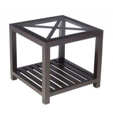 Table Gigogne 1 Croix Carré Bois/Verre Noir | www.cosy-home-design.fr