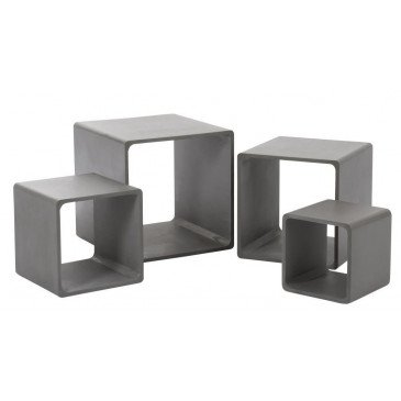 Set De 4 Tables Gigogne Cube Bois Gris | www.cosy-home-design.fr