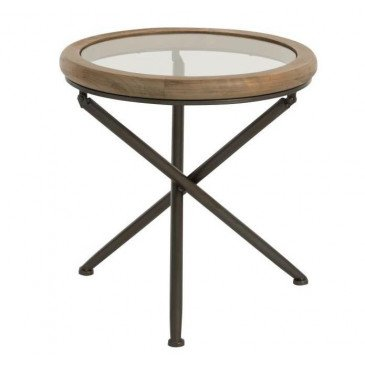 Table Ronde Bois/Verre Marron Petit | www.cosy-home-design.fr