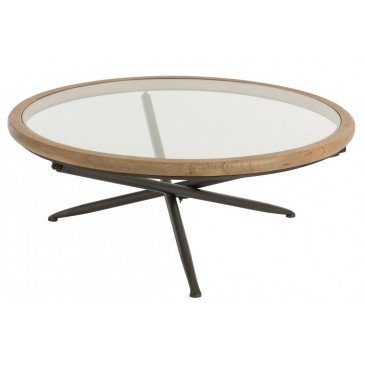 Table Ronde Bois/Verre Marron Large | www.cosy-home-design.fr