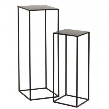 Set De 2 Tables Gigogne Carrées Métal Noir | www.cosy-home-design.fr